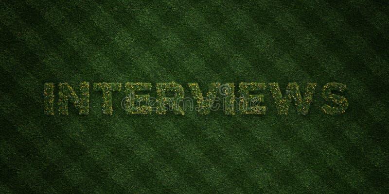 Les ENTREVUES - lettres fraîches d'herbe avec des fleurs et des pissenlits - redevance rendue par 3D libèrent l'image courante illustration de vecteur
