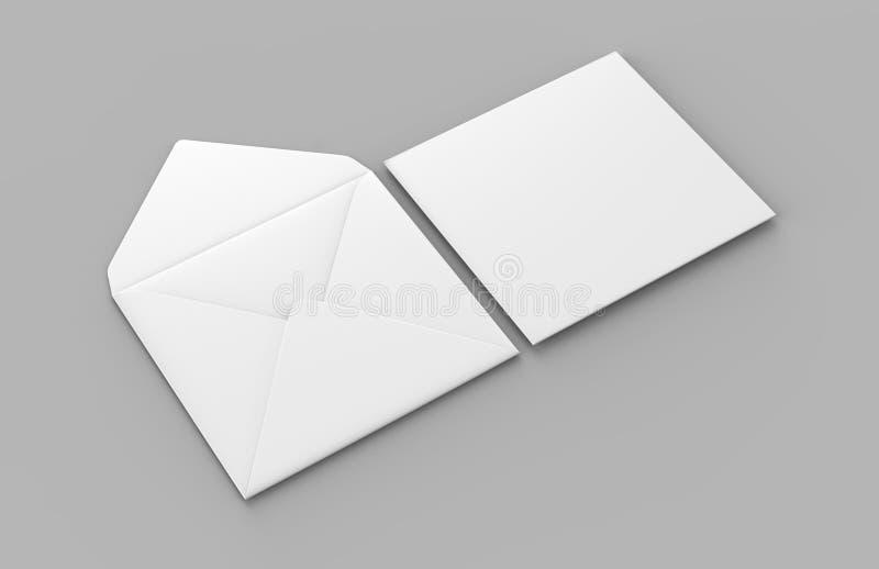 Les enveloppes droites carrées réalistes blanches vides d'aileron raillent  illustration du rendu 3d illustration libre de droits