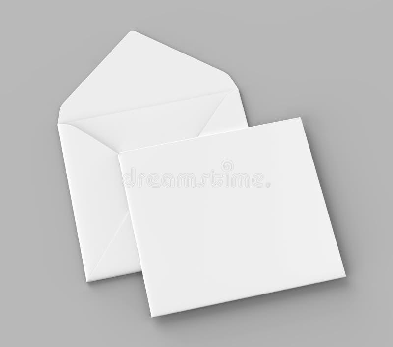 Les enveloppes droites carrées réalistes blanches vides d'aileron raillent  illustration du rendu 3d illustration de vecteur