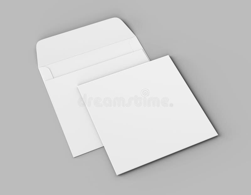 Les enveloppes droites carrées réalistes blanches vides d'aileron raillent  illustration du rendu 3d illustration stock