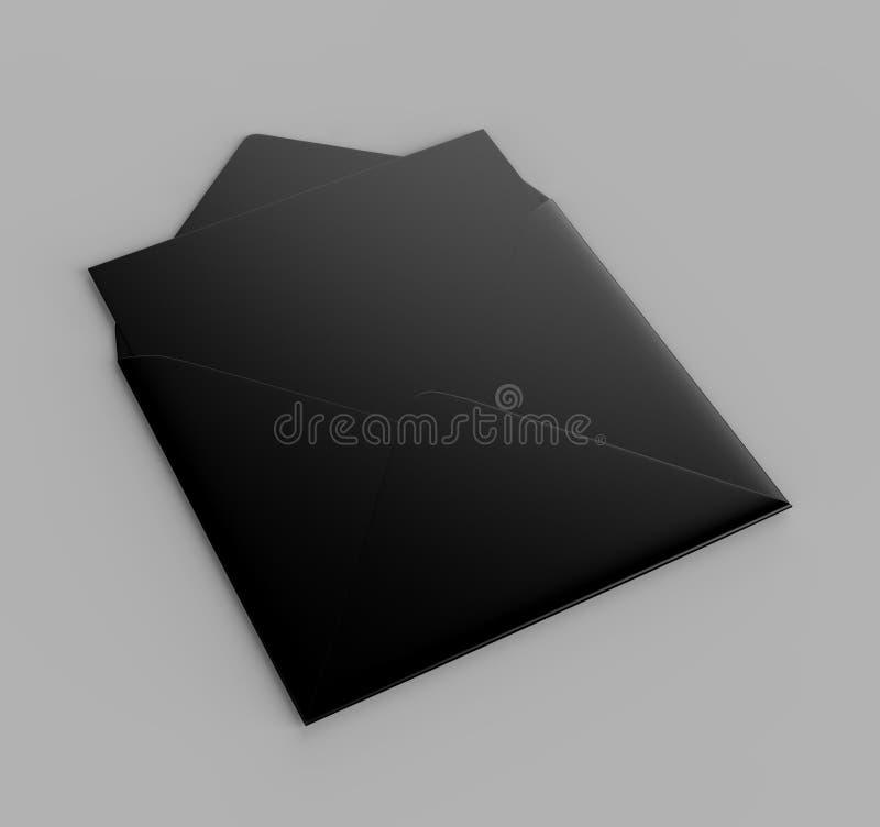 Les enveloppes droites carrées réalistes noires vides d'aileron raillent  illustration du rendu 3d illustration stock