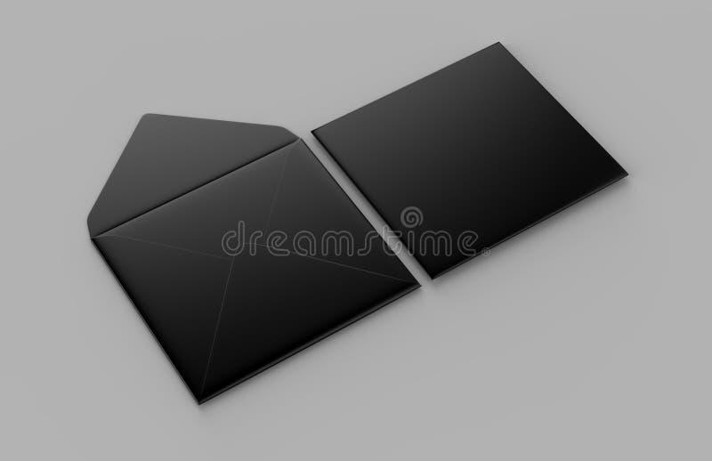 Les enveloppes droites carrées réalistes noires vides d'aileron raillent  illustration du rendu 3d illustration de vecteur