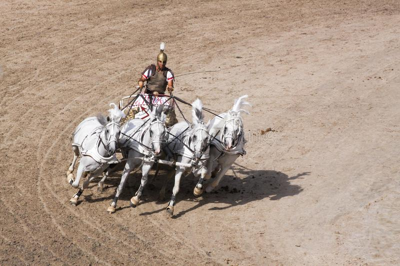 Roman chariot race show at Puy du Fou in France stock photo