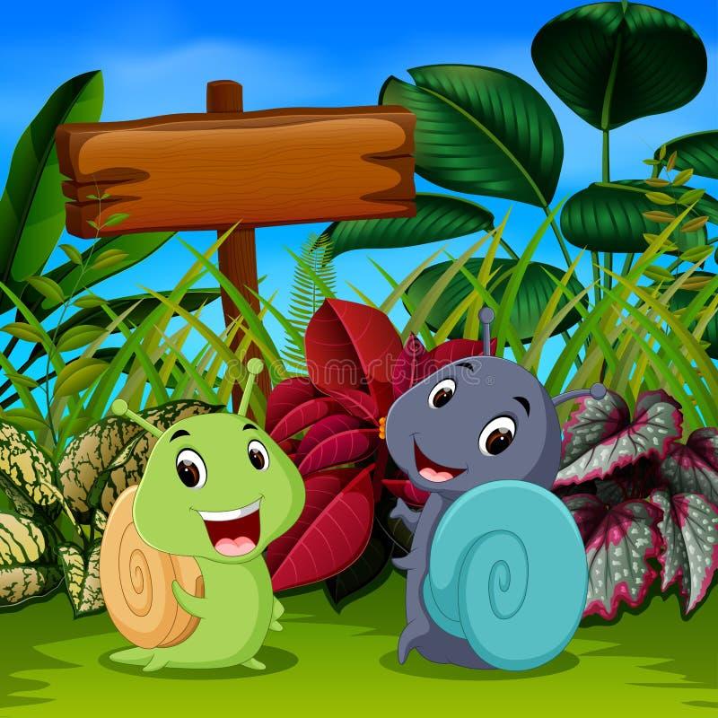 Les escargots mignons jouent dans le jardin avec le visage heureux illustration libre de droits