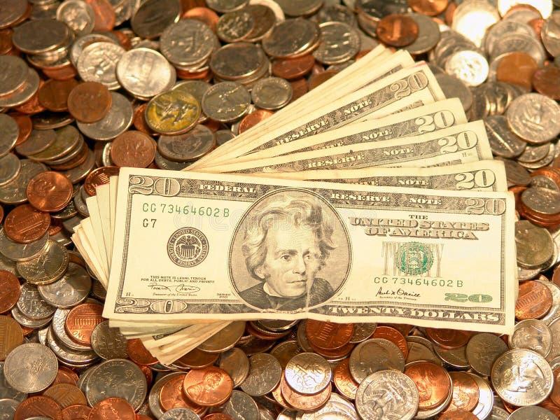 Les Etats-Unis affichent des quarts de penny de dixièmes de dollar de pièces de monnaie photographie stock libre de droits