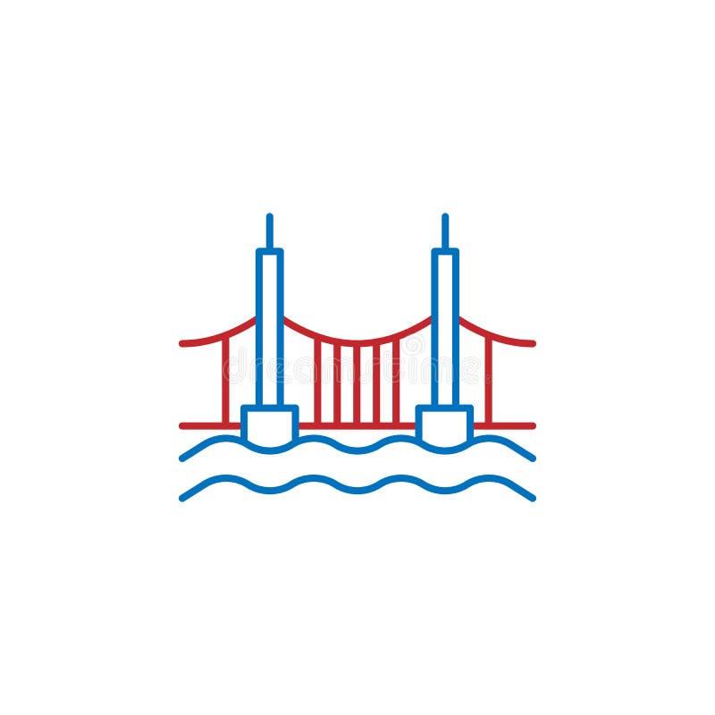 Les Etats-Unis, Amérique, icône de pont ?l?ment d'ic?ne de culture des Etats-Unis Ligne mince ic?ne pour la conception de site We illustration stock