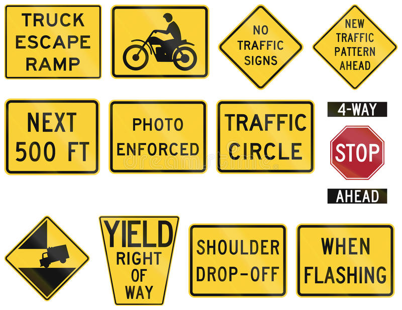 Les Etats-Unis avertissant des panneaux routiers de MUTCD illustration de vecteur