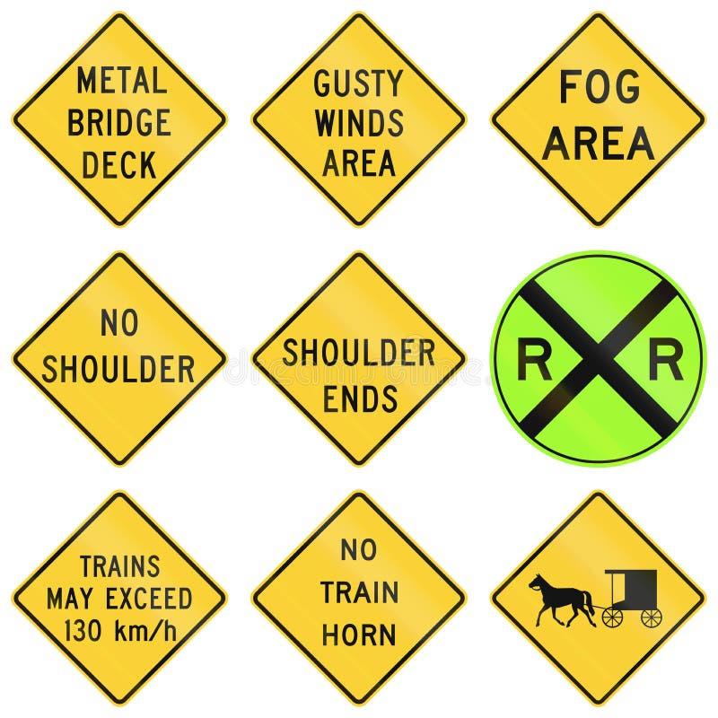 Les Etats-Unis avertissant des panneaux routiers de MUTCD illustration stock