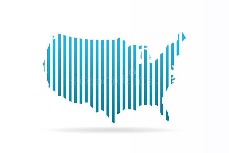 Les Etats-Unis Etats-Unis barrent la carte conception graphique de vecteur illustration de vecteur
