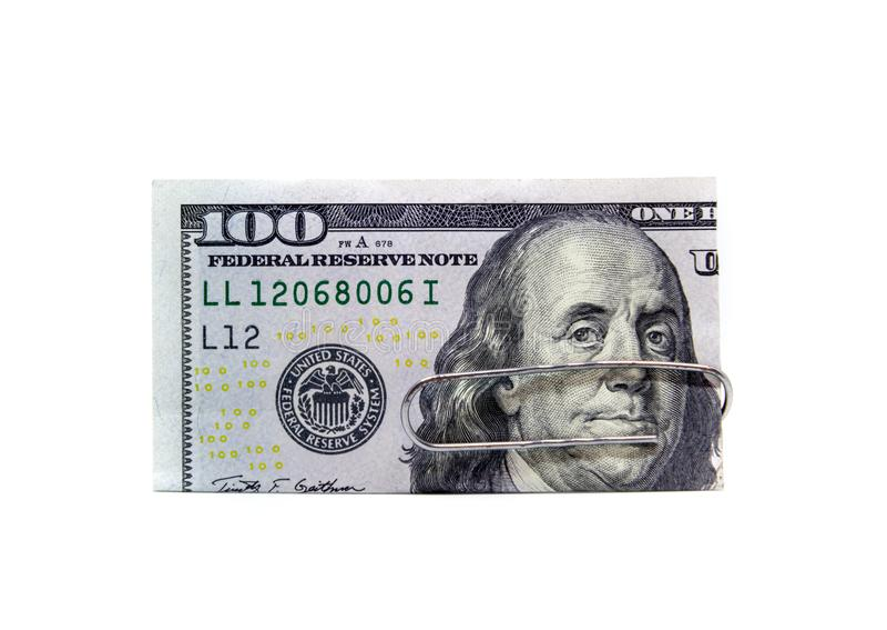 Les Etats-Unis 100 billet d'un dollar avec l'agrafe image libre de droits