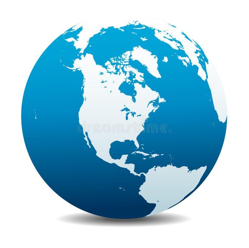 Les Etats-Unis, Canada, nord, sud, et l'Amérique Centrale, icône globale du monde illustration libre de droits