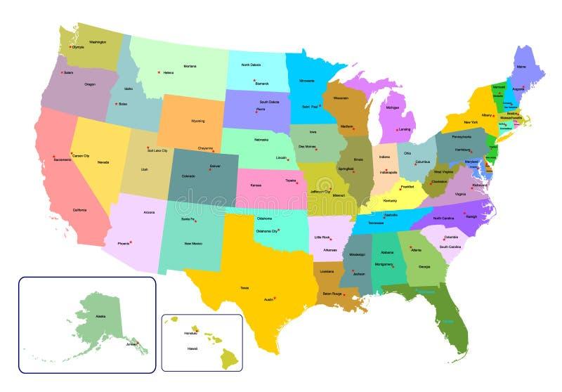 Les Etats-Unis colorés tracent avec des états et des capitales photos libres de droits