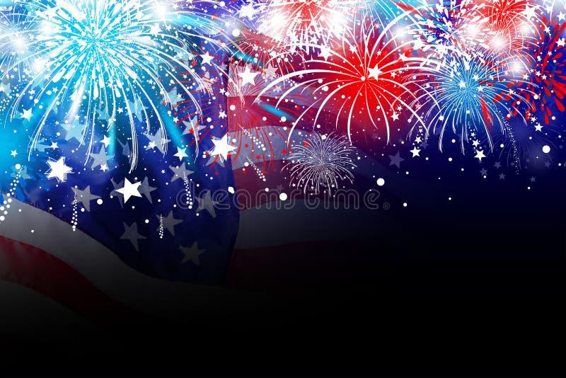 Les Etats-Unis conception de Jour de la Déclaration d'Indépendance du 4 juillet de drapeau de l'Amérique avec le feu d'artifice illustration stock