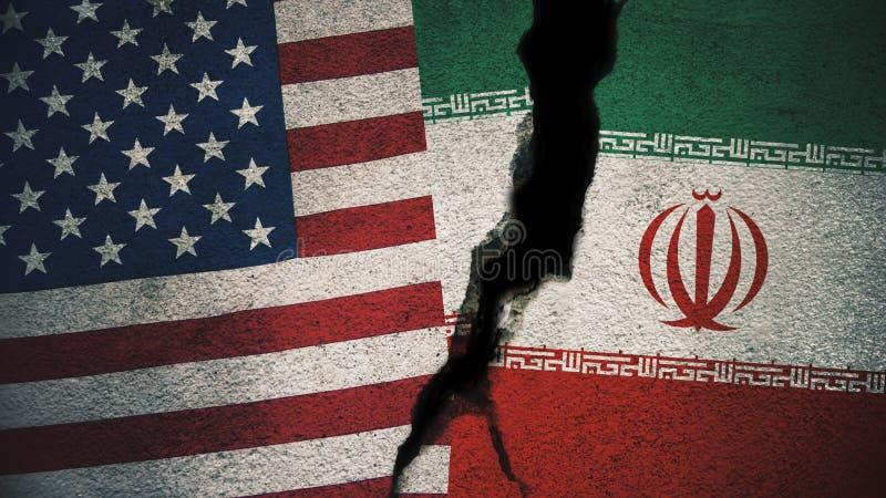 Les Etats-Unis contre des drapeaux de l'Iran sur le mur criqué image stock