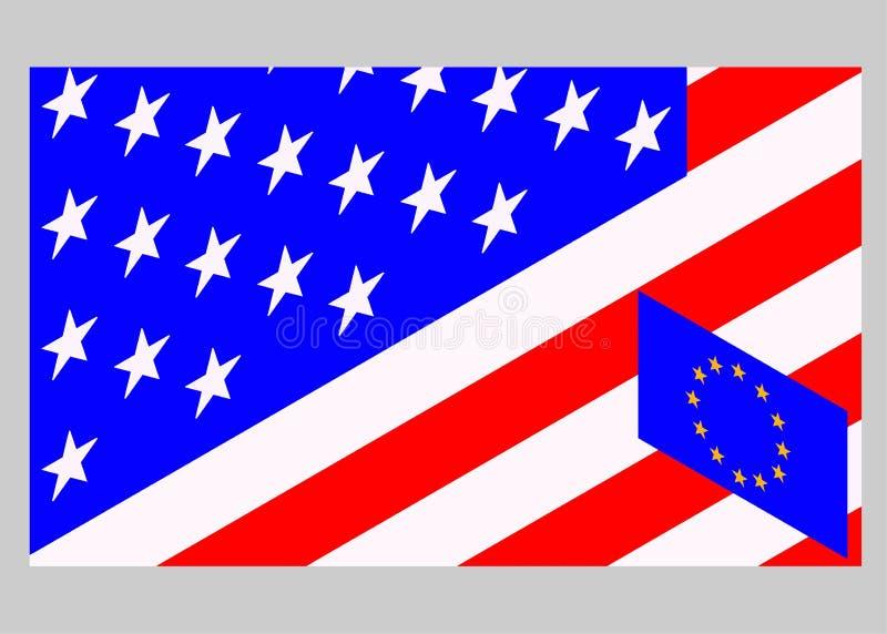 Les Etats-Unis contre l'Union européenne Drapeau américain et drapeau de l'Europe photo stock