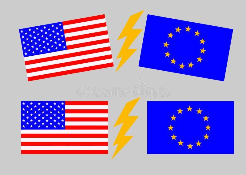 Les Etats-Unis contre l'Union européenne Drapeau américain et drapeau de l'Europe photographie stock