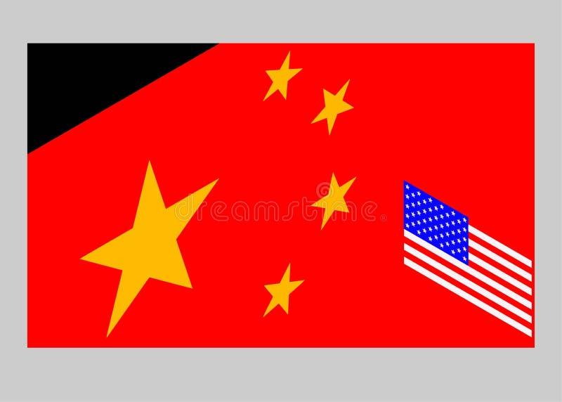 Les Etats-Unis contre la Chine Drapeau chinois et drapeau am?ricain images stock