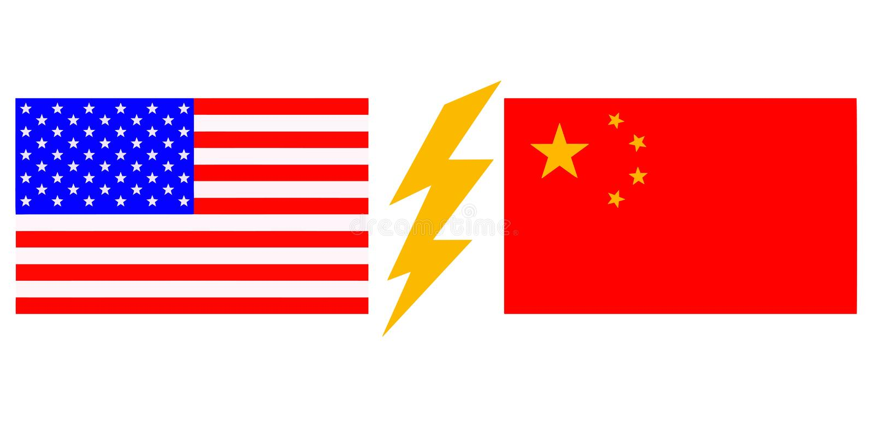 Les Etats-Unis contre la Chine Drapeau chinois et drapeau am?ricain photos stock