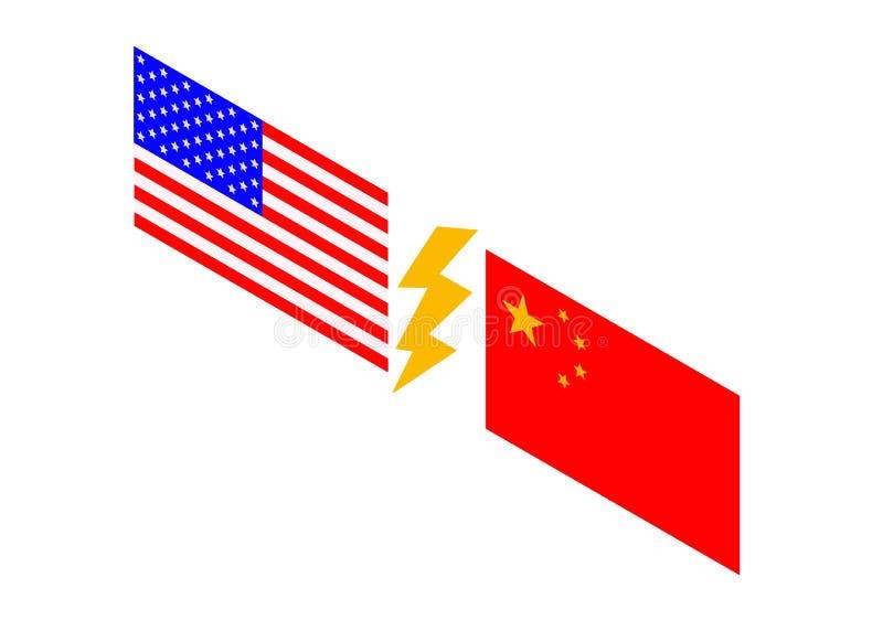 Les Etats-Unis contre la Chine Drapeau chinois et drapeau am?ricain photos libres de droits