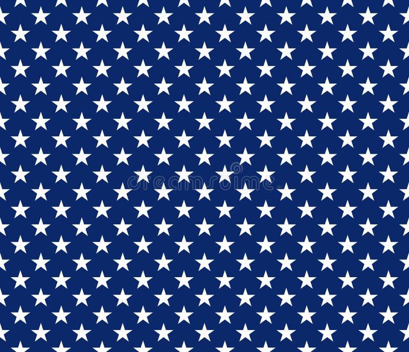 Les Etats-Unis dénomment les étoiles blanches de modèle sans couture sur le fond bleu illustration de vecteur