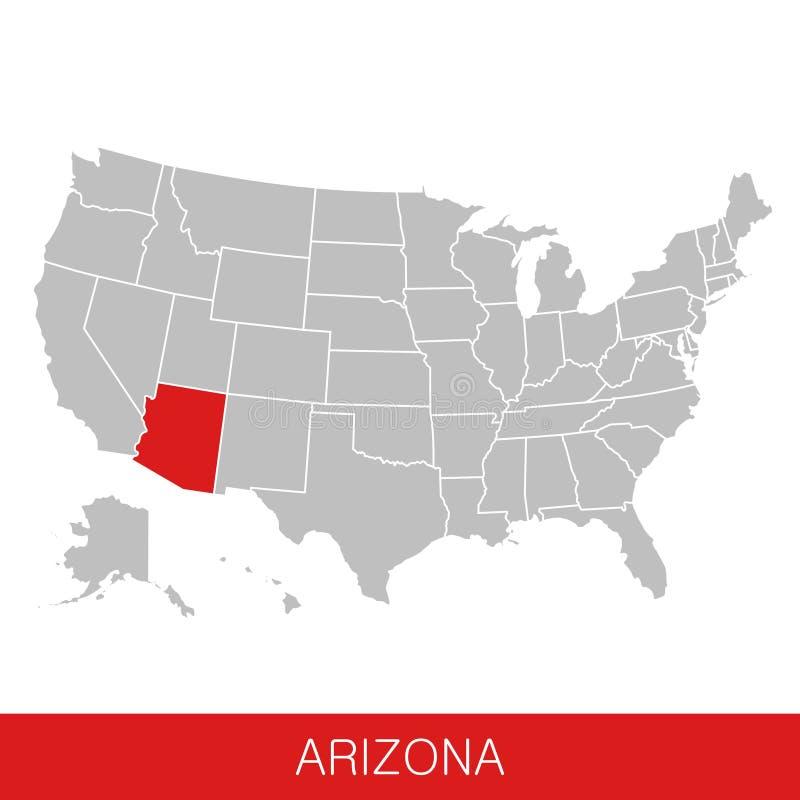 Les Etats-Unis d'Amérique avec l'état de l'Arizona ont choisi Carte de l'illustration de vecteur des Etats-Unis illustration libre de droits