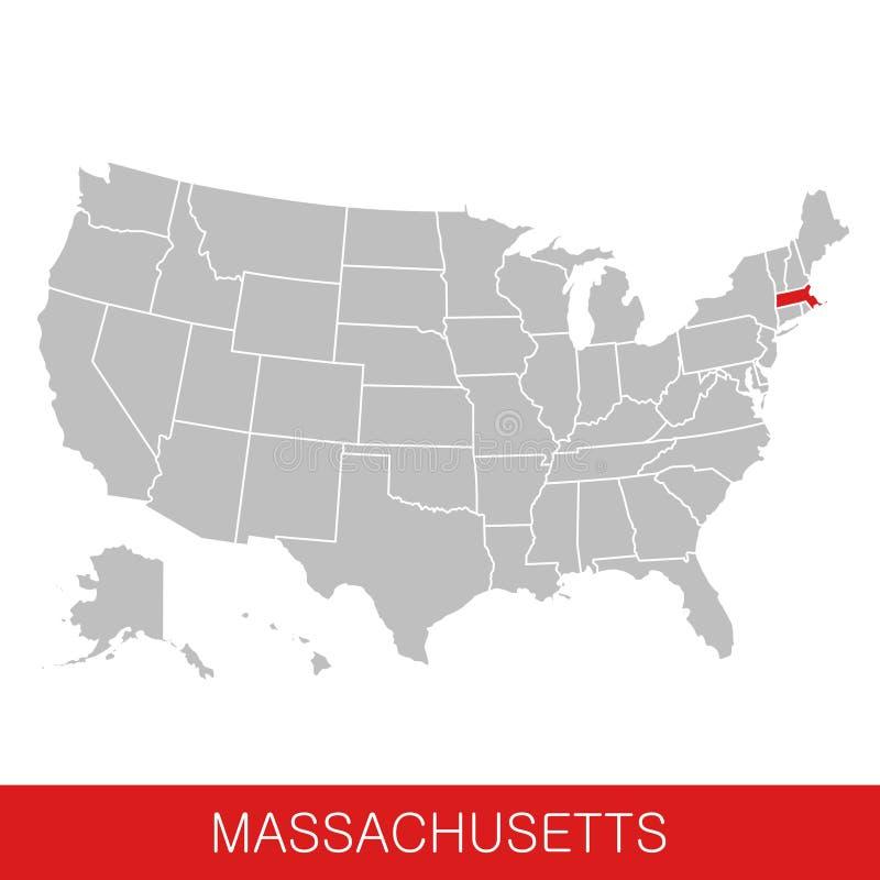 Les Etats-Unis d'Amérique avec l'état du Massachusetts ont choisi Carte des Etats-Unis illustration de vecteur
