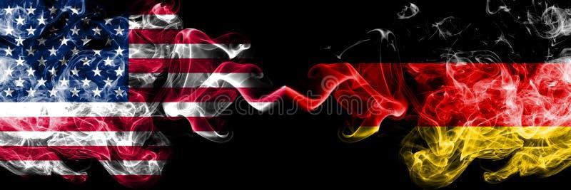 Les Etats-Unis d'Amérique contre l'Allemagne, drapeaux mystiques fumeux allemands placés côte à côte Drapeaux soyeux coloré illustration libre de droits