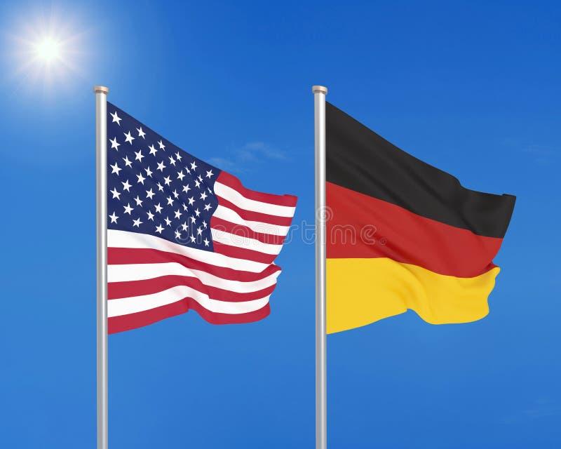 Les Etats-Unis d'Amérique contre l'Allemagne Drapeaux soyeux colorés épais de l'Amérique et de l'Allemagne r - illustration libre de droits
