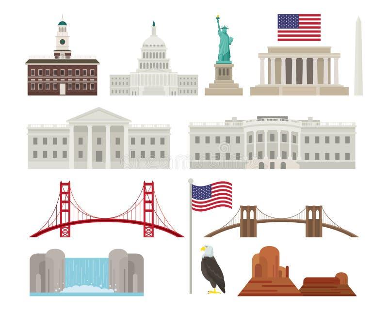 Les Etats-Unis d'Amérique, Etats-Unis, objets illustration stock