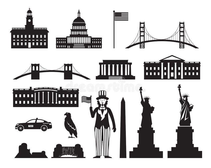 Les Etats-Unis d'Amérique, Etats-Unis, objets silhouettent illustration de vecteur