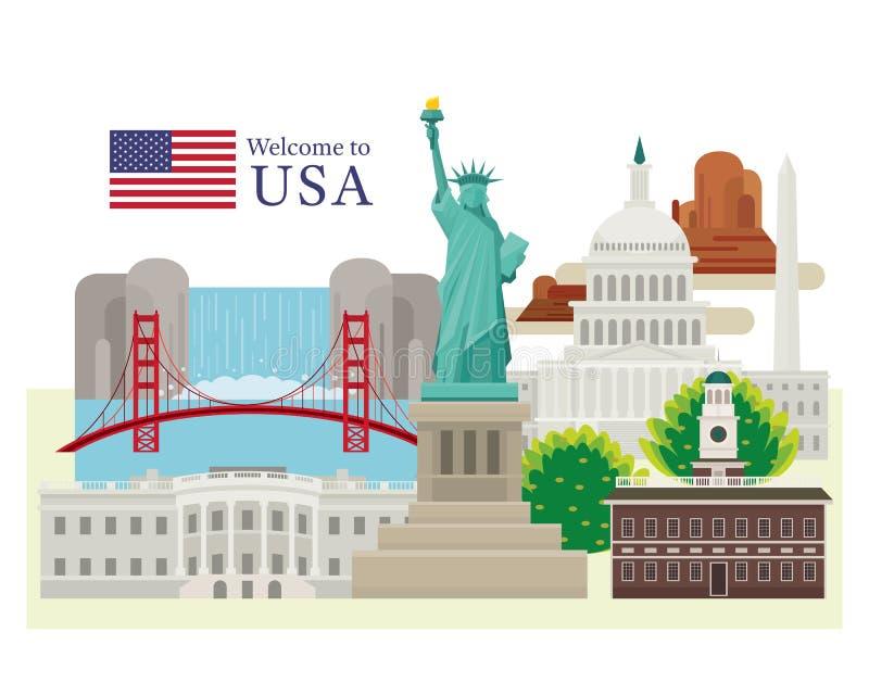 Les Etats-Unis d'Amérique, Etats-Unis, points de repère illustration stock
