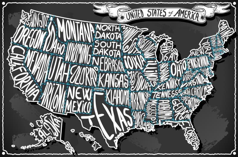 Les Etats-Unis d'Amérique sur le tableau noir d'écriture de vintage illustration libre de droits