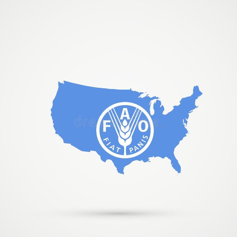 Les Etats-Unis d'Amérique Etats-Unis tracent dans l'Organisation pour l'alimentation et l'agriculture des couleurs de drapeau des illustration stock