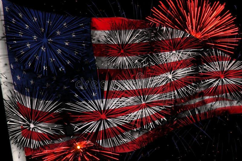Les Etats-Unis diminuent avec des feux d'artifice image stock