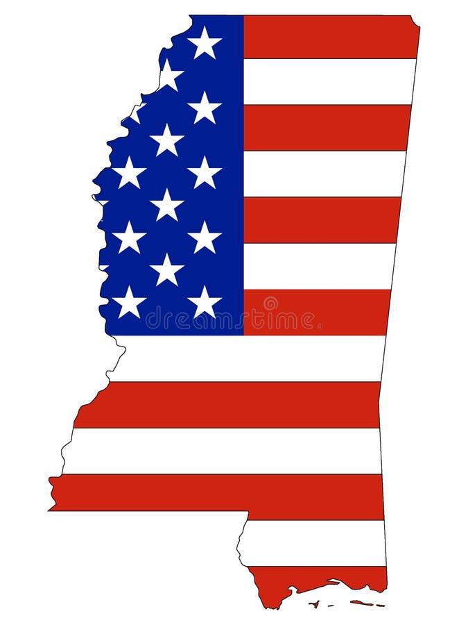 Les Etats-Unis diminuent combiné avec la carte de l'État fédéral des USA du Mississippi illustration libre de droits