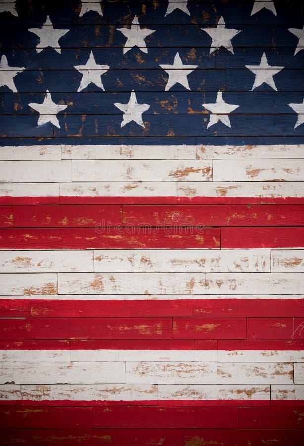 Les Etats-Unis diminuent peint sur les planches en bois formant un fond photo libre de droits