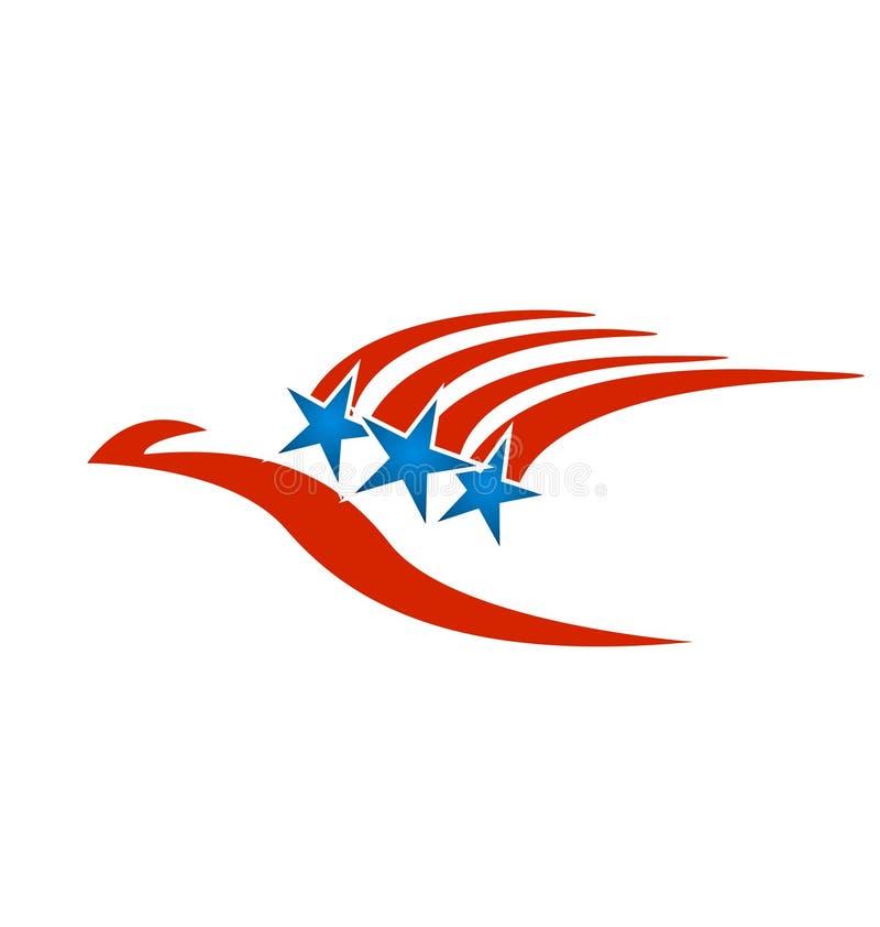 Les Etats-Unis diminuent, les rayures rouges et les étoiles bleues illustration libre de droits