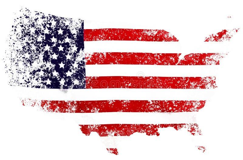 Les Etats-Unis diminuent sous forme de cartes des Etats-Unis illustration libre de droits