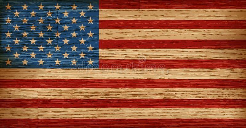 Les Etats-Unis, drapeau américain peint sur le vieux fond en bois de planche illustration libre de droits