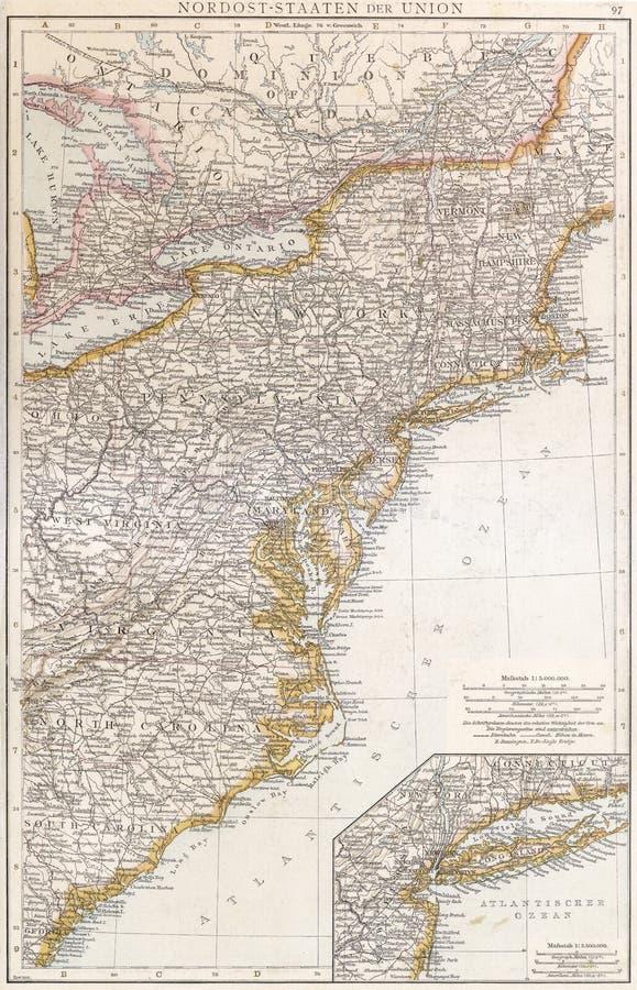 Les Etats-Unis du nord-est, 1890. image libre de droits