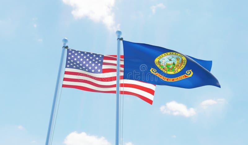 Les Etats-Unis et ?tat Idaho, deux drapeaux ondulant contre le ciel bleu illustration libre de droits