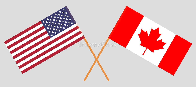 Les Etats-Unis et Canada Indicateurs américains et canadiens Couleurs officielles Proportion correcte Vecteur illustration de vecteur