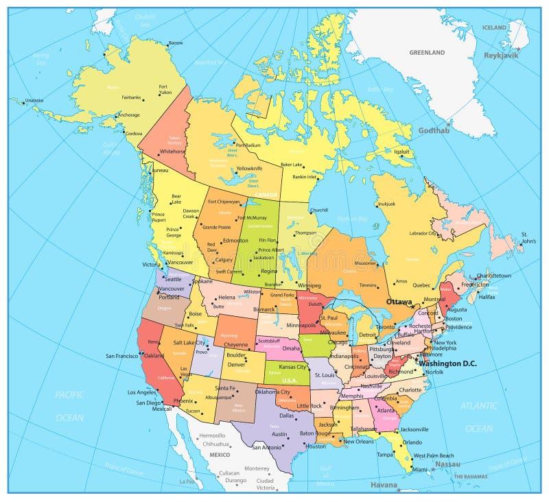 Les Etats-Unis et carte politique détaillée de Canada grande illustration stock