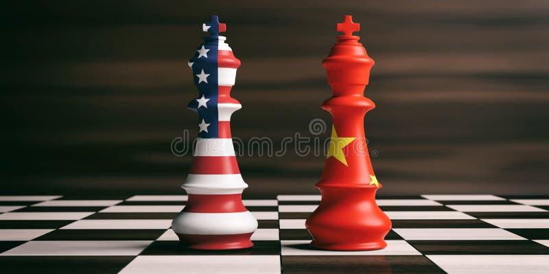 Les Etats-Unis et concept de coopération de la Chine Les Etats-Unis et drapeaux de la Chine sur des rois d'échecs illustration 3D illustration de vecteur