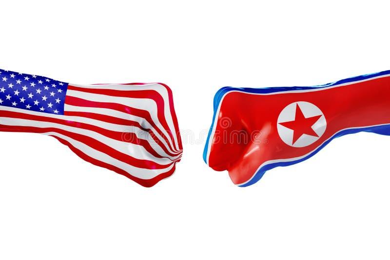 Les Etats-Unis et drapeau de la Corée du Nord Combat de concept, concurrence d'affaires, conflit ou manifestations sportives image libre de droits