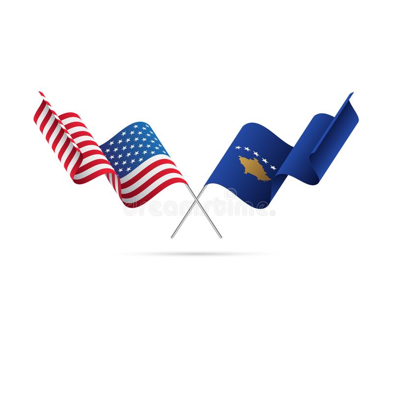 Les Etats-Unis et drapeaux de Kosovo Illustration de vecteur illustration libre de droits