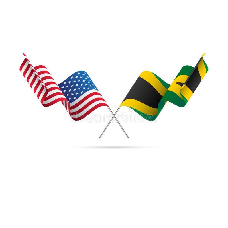 Les Etats-Unis et drapeaux de la Jamaïque Illustration de vecteur illustration de vecteur
