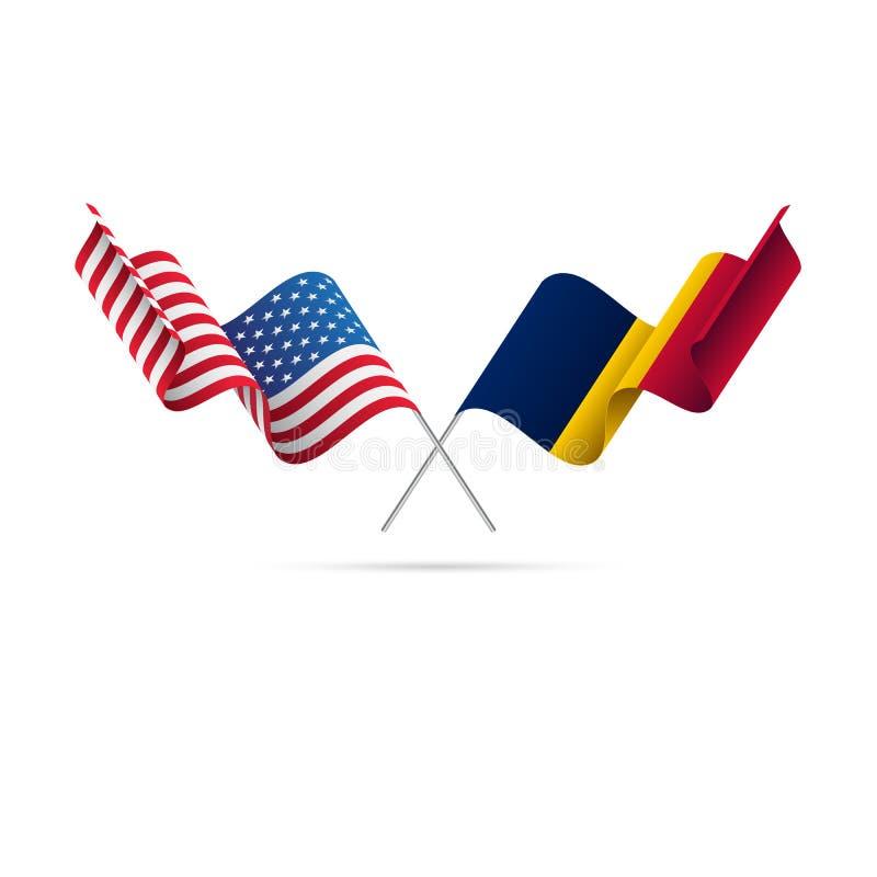 Les Etats-Unis et drapeaux du Tchad Illustration de vecteur illustration libre de droits