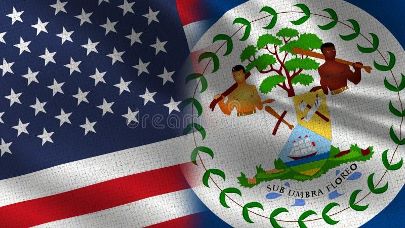 Les Etats-Unis et drapeaux réalistes de Belize demi ensemble illustration libre de droits