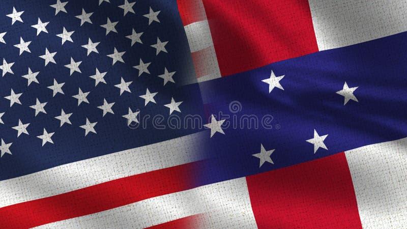 Les Etats-Unis et drapeaux réalistes des Antilles néerlandaises demi ensemble images stock